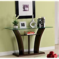 Sofa Table w/ Glass Top in Dark Cherry Brown by Furniture of America