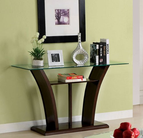 Sofa Table w/ Glass Top in Dark Cherry Brown by