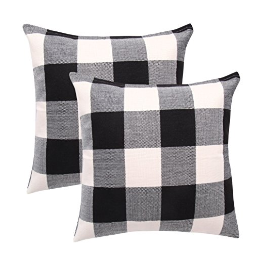 famibay Pack of 2, Pillow Covers Tartan Checkers Plaid Cotton Linen Throw Pillow Case Decorative Cushion Cover for Home Sofa Couch 24 x 24 Inch, Black and White