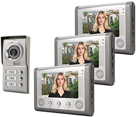 ドアベル、アパート3ユニット有線ビデオドア電話オーディオビジュアルドアベルインターホンエントリシステム(英国プラグ)