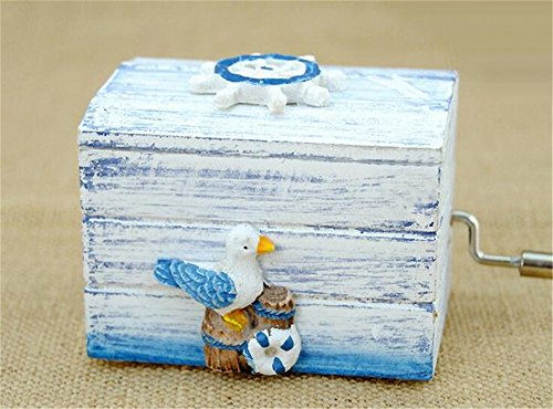 (Biscount Hand Crank Mini Vintage Seagull Wooden Music Box Castle in the Sky Birthday Christmas Music Box for Kids Girls Women Gift)