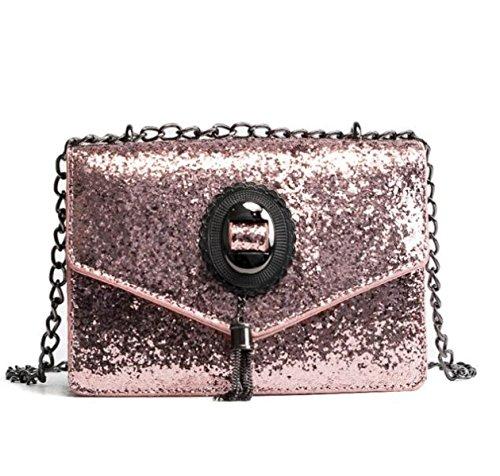 Versión Coreana Moda Lentejuelas Bolsa Cuadrada Pequeña Primavera Bolsos De Mano Mini Paquetes De Cadena Borlas Hombro Bolsa De Mensajero Pink