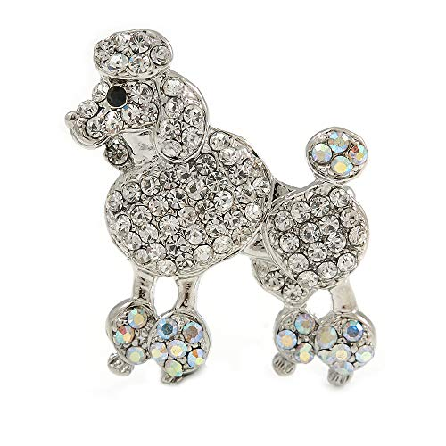 Rhodium Plated Clear Crystal Poodle Brooch - 37mm - Crystal Poodle