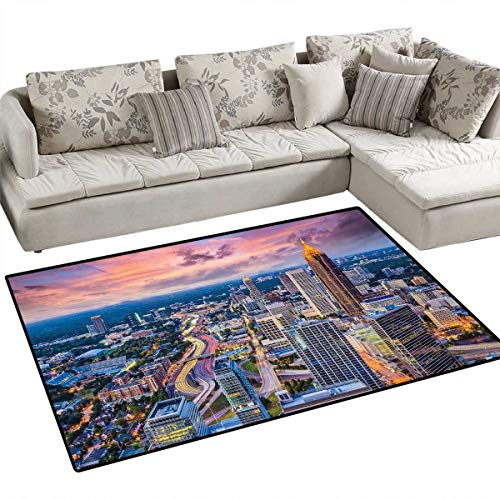 Modern Area Rugs for Bedroom Atlanta City Skyline at Sunset with Hazy Syk Georgia Town American View Door Mats for Inside Non Slip Backing 48