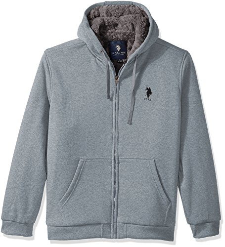U.S. Polo Assn.. Mens Standard Sherpa Lined Fleece Hoodie, Heather Grey 5516, 4X by U.S. Polo Assn.