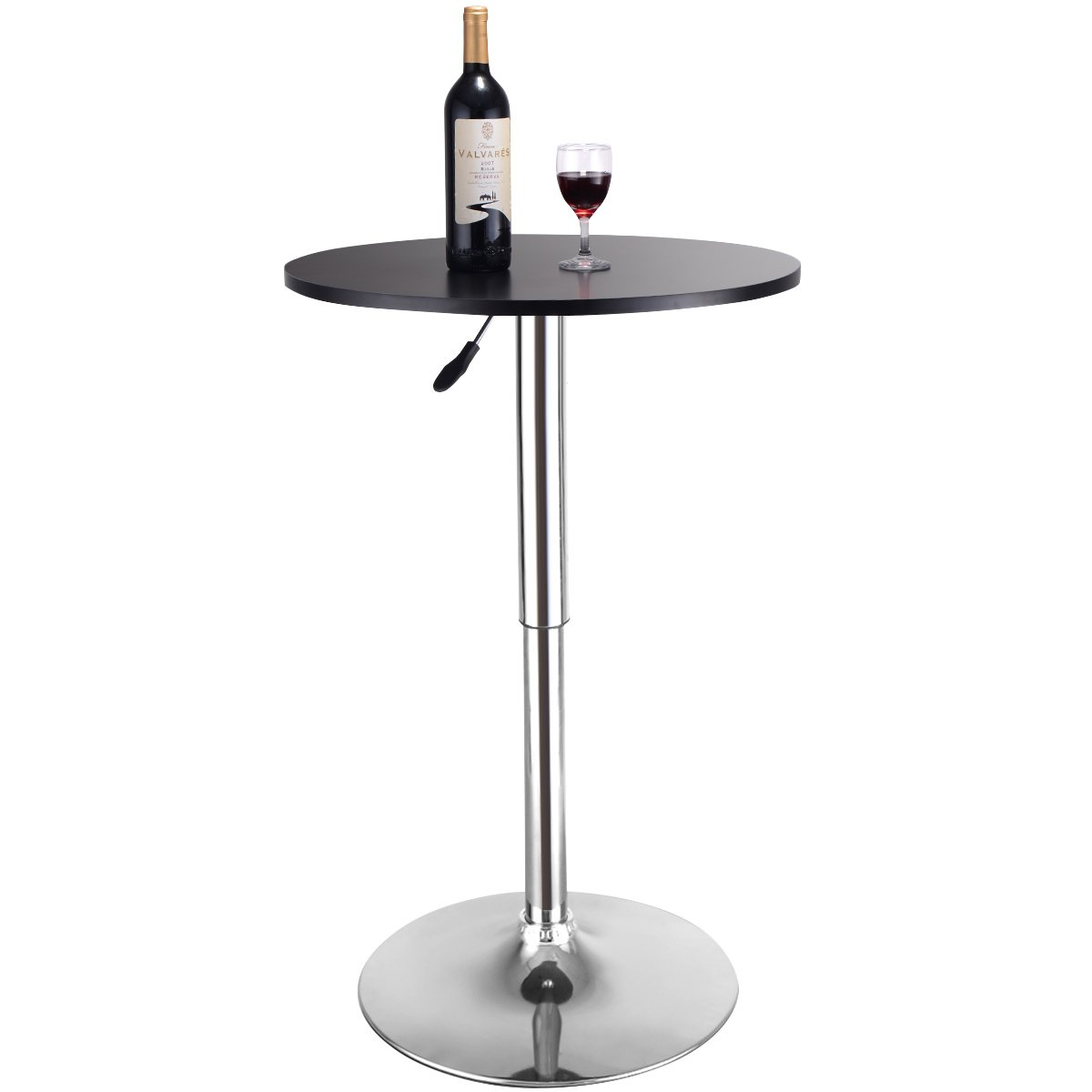 Costway Round Bar Table 360 Swivel MDF Top Coffee Bistro Pub Cafe Adjustable Height 70-91 cm High Black (1)