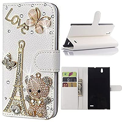 Ebestsal(TM) Bling Rhinestone Handmade Flip Wallet PU Leather Case For ZTE Grand X Max Z787, ZTE Grand X Max+ Z987 Max Plus by Ebestsale