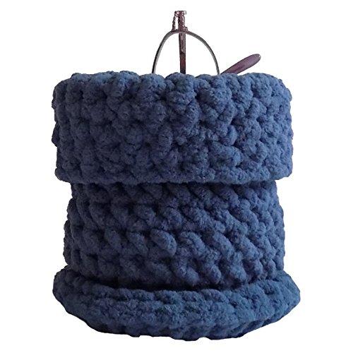 Hand Crocheted Soft Eyeglass Basket -Upright Standing Eyeglass Case or Eyeglass Holder for Desktop, Nightstand, and Countertop - Country Blue