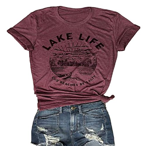 Lake Short Sleeve Shirt - ZMLIA Lake Life T Shirt Short Sleeve Women Graphic Tee O-Neck Letter Print Summer Tops Size M (RED)