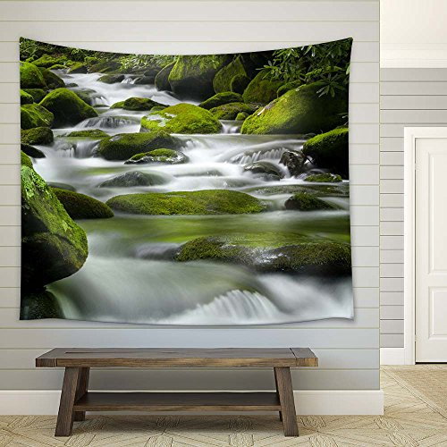 Cascading Spring with Stones Fabric Tapestry