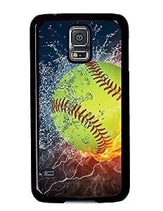 Popular Softball Fire and Ice DIY Hard Shell Black Samsung Galaxy S5 I9600 Case Perfect By Custom Service