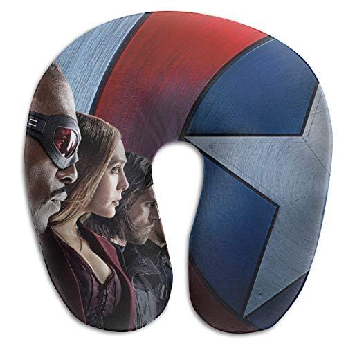 (HomeYdecor Captain America Civil War Team Soft Memory Foam U-Shaped Pillows Travel Outdoor Portable Pillow Neckrest Travel Folding Pillow)