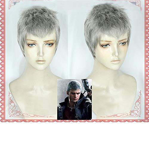 (SYH01 Devil May Cry 5 Nero Halloween Cosplay Costume Hunter Short Silver Gray Hairpiece Wigs Wig Cap for Black White Men)