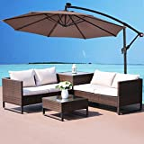 COSTWAY 3M Outdoor LED Parasol Patio Solar Sun Shade Banana Cantilever Hanging Umbrella (Tan)