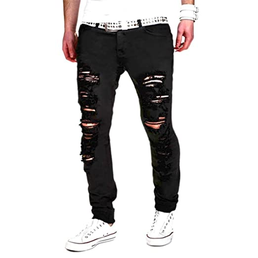 3f0d12197645 Mens Hip Hop Punk Distressed Ripped Skinny Biker Jeans Destroyed Slim Fit  Stretch Denim Pants (