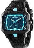 Police PL-13838JPB-02 Men's Hydro Blue Accent Black Dial Black IP Aluminum Watch