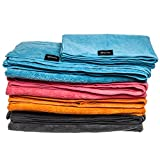 Compact Lightweight Microfiber Travel Towels from QGSporting. Absorbent Quick Drying Large Towel with small Towel/Scarf & Mesh Storage Bag. For the Beach, Yoga, Golf, Gym, Football, Camping & more…