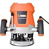 EJWOX 12-Amp Variable Speed Plunge Router Heavy Duty Woodworking Router Kit with Edge Guide