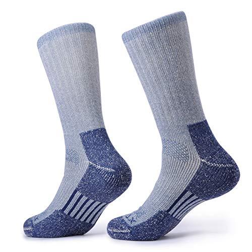 SOLAX Mens 2 Pairs Merino Wool Athletic Crew Hiking Boots Full Cushion Socks