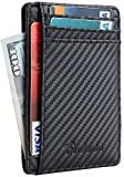 Kyпить Travelambo Front Pocket Minimalist Leather Slim Wallet RFID Blocking Medium Size(carbon fiber texture black) на Amazon.com