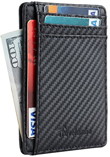Travelambo Front Pocket Minimalist Leather Slim Wallet RFID Blocking Medium Size(carbon fiber texture black)