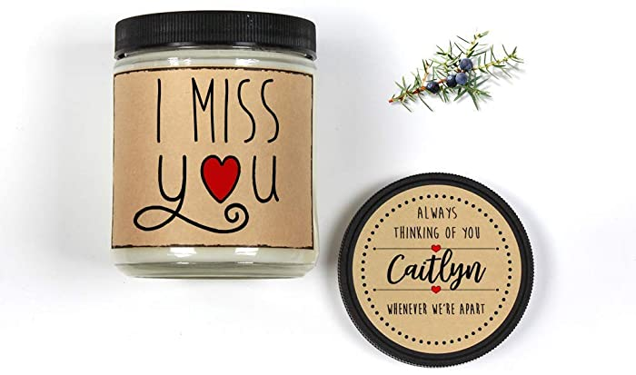 Amazon Com I Miss You Personalized Gift Candle 8oz Scented Candle