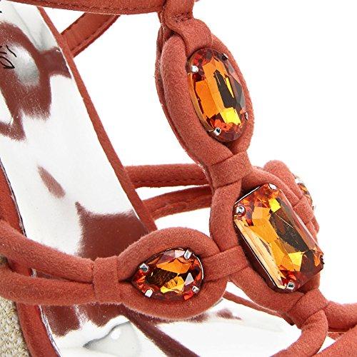 ALESYA by Scarpe&Scarpe - Plataformas con T-bar y piedras SALMONE