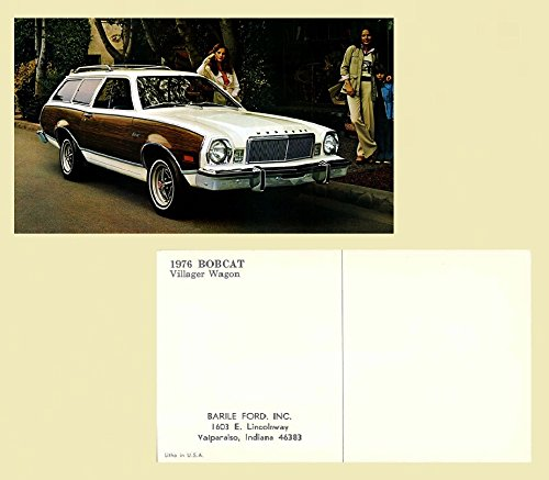 (1976 MERCURY BOBCAT VILLAGER WAGON VINTAGE COLOR POSTCARD - USA - BEAUTIFUL ORIGINAL POST CARD !! )