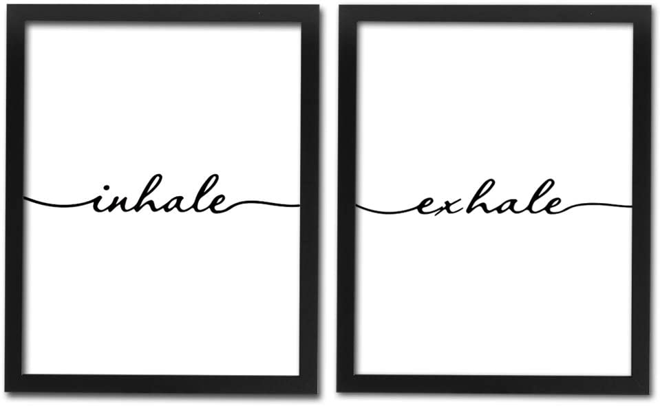 "Framed Inhale Exhale Art Print Set Of 2 (10""X8"")-Ready To Hang, Meditation Art Print, Black And White Yoga Wall Art Prints,Modern Zen Print, Canvas Wall Art Poster For Bedroom"