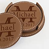 Personalized Leather Drink Coaster Set of 4 - Custom Laser Engraved Leather Coaster With Any Text - For Hot / Cold Drinks, Glasses, Wine, Beer, Pub, Bar