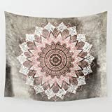 Shukqueen Tapestry, Psychedelic Indian Mandala Grey Pink Wall Hanging Tapestry Wall Decor Art for Living Room Bedroom Dorm Decoration M/150x130 cm