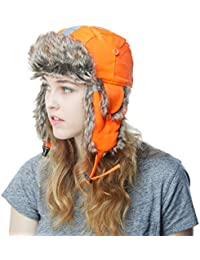 Faux Fur Safety Reflective Aviator Trapper Hat Snow Ski Trooper Winter Cap (Adult, Neon Orange)