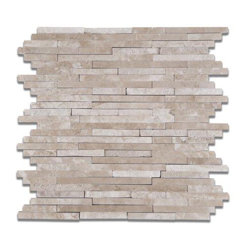 Durango Cream (Paredon) Travertine Polished & Split-faced Random-Strip Mosaic Tile - Sample Piece - Mexican Travertine Floor Tile