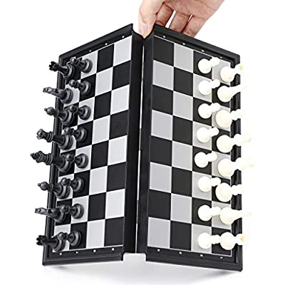 Bluejaye Portable Travel Magnetic Tournament Chess Set with Foldable Board