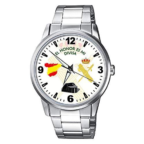 Casio® Civil Reloj Guardia Blanco MetálicoAmazon Fondo Con Escudo 8nwk0OP