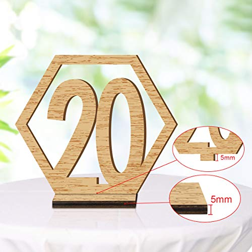 ElekFX Table Numbers 20 Pack 1-20 Wedding Wooden Table Number with Base, Party Table Numbers Double Sided Design Table Holder for Wedding/Party Reception and Decoration (M) -
