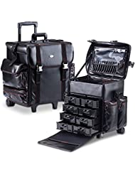 MUA LIMITED Professional Beauty Makeup Artist Case on Wheels, Soft Cosmetic Case with Trolley and Storage Drawers...