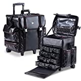 MUA LIMITED Professional Beauty Makeup Artist Case on Wheels, Soft Cosmetic Case with Trolley and Storage Drawers, Side Compartments and Brush Holders, ULTIMATE Series - Black Leather