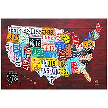 Amazoncom USA License Plate Map Print Wood Frame Wall Decor - Us map of license plates