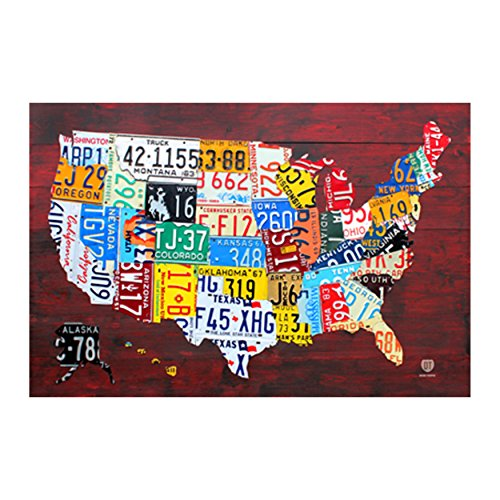 License Plate Map of the US Poster (24x36) Rolled PSA010205 (Plate Map)