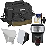 Canon 100EG Digital SLR Camera Case - Gadget Bag + Flash + Soft Box + Reflector Kit for EOS 6D, 7D, 77D, 80D, 5D Mark II III IV, Rebel T6, T6i, T6s, T7i, SL1, SL2