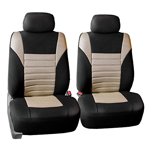 FH Group FH-FB068102 Premium 3D Air Mesh Seat Covers Pair Set (Airbag Compatible), Beige/Black Color- Fit Most Car, Truck, SUV, or Van]()