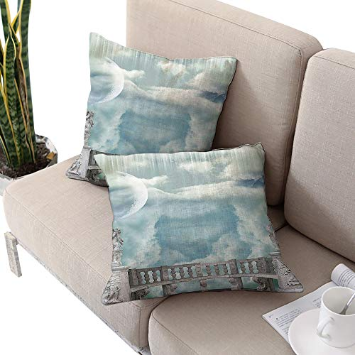 Mystic House Decor Collection Square futon Cushion Cover,Balcony in The Sky with Angel Statues Princess Castle Victorian Style Architecture Blue White Cushion Cases Pillowcases for Sofa Bedroom -