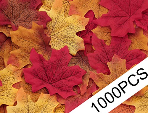 Autumn Leaf Decorations (Moon Boat 1000PCS Fall Artificial Maple Leaves Thanksgiving Autumn Leaf Wedding Party Table Decor,)