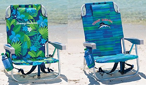 Tommy Bahama 20172 PACK Backpack Cooler Beach Chair Lounge with Storage Pouch and Towel Bar (VARIOUS COLOR COMBOS) (Green Floral & Blue ()