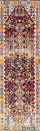 "nuLOOM Meadow Vintage Vibrant Runner Rug, 2' 6"" x 8', Black - Origin: Turkey Weave: machine made Material: 100% polypropylene - runner-rugs, entryway-furniture-decor, entryway-laundry-room - 519Kd5KZNBL -"