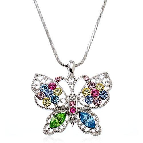 [PammyJ Silvertone Butterfly with Multi Color Crystal Pendant Necklace, 18
