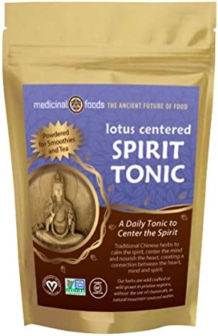 LOTUS CENTERED SPIRIT TONIC Meditation and Sleep Tonic – Daily Superfoods Powder – Peaceful Calming – Pure Chinese Herbal powder. Vegan, Non-GMO, Sugar Free Gluten Free – Mix in Smoothies Teas