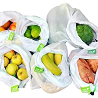 8 Pack UseAgain Zero Waste Reusable Produce Bags | Drawstring | Medium & Large Sizes in White | Extra Strong, Washable…
