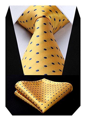BIYINI Men's Polka Dot Tie Handkerchief Jacquard Woven Classic Men's Necktie & Pocket Square Set Yellow -